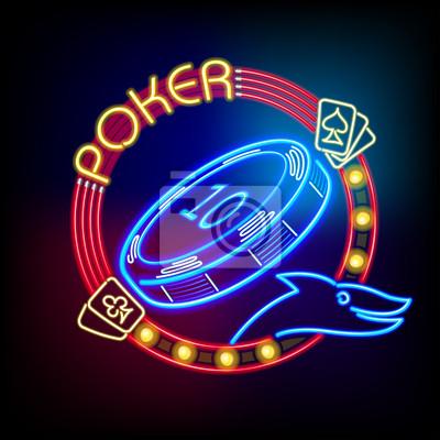 Żeton w kasynie poker neonowym świetle