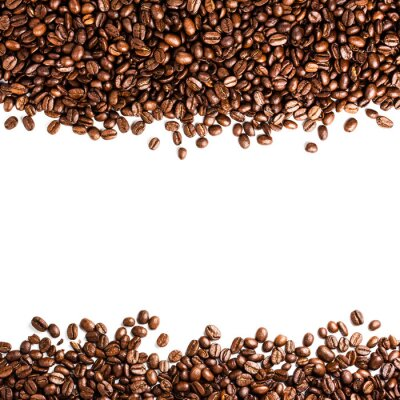 Fototapeta Ziaren kawy na białym tle z copyspace dla TE