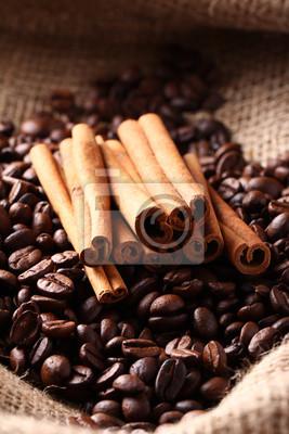 Fototapeta Ziarna kawy i cynamonu