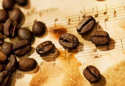 Fototapeta Ziarna kawy na grungy tło muzyczne