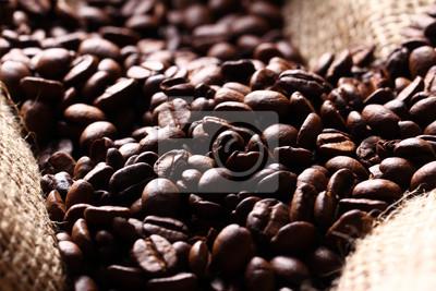 Fototapeta Ziarna kawy na worek tkaniny