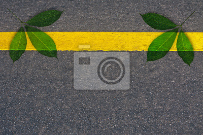 zielone liście na asfaltowej nawierzchni drogowej na tle
