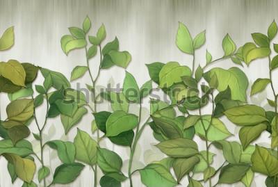 Fototapeta Zielone liście roślin domowych na tle ściany. Tropikalne liście. do druku wewnętrznego.