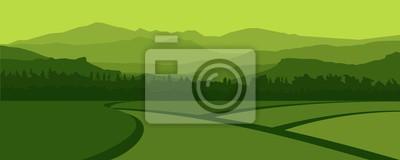 Fototapeta Zielony krajobraz górskich Hills i Rice Field w miejscowości