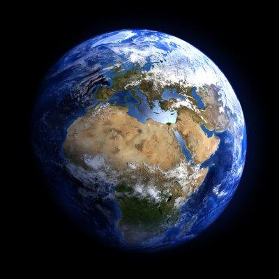 Fototapeta Ziemi z przestrzeni pokazano w Europie i Afryce.