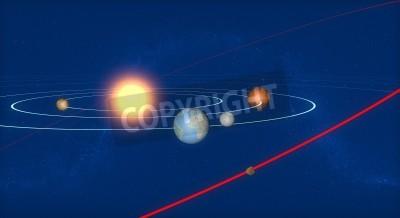 Fototapeta Ziemia, układ słoneczny i Asteroida