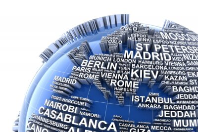 Fototapeta Ziemia z nazwiskami największych miast na świecie