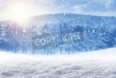 Fototapeta Zima w tle, padającego śniegu na zimowy krajobraz z kopi?