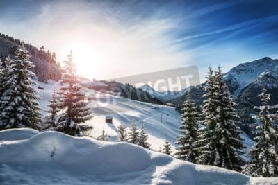 Fototapeta Zimowy krajobraz w Alpach