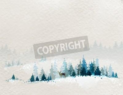 Fototapeta zimowy krajobraz z jodły lasów i jelenie