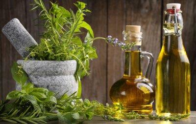 Fototapeta zioła i olej