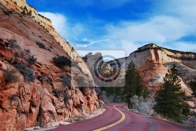 Zion National Park z drogi i śnieg