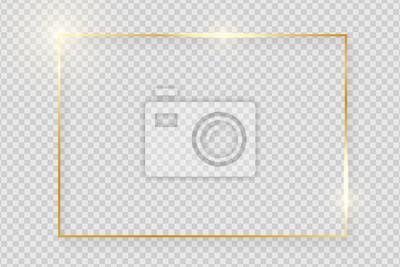 Fototapeta Złota błyszcząca świecąca rama z cieniami na przezroczystym tle. Złoty luksus realistyczne prostokąt granicy. Ilustracji wektorowych