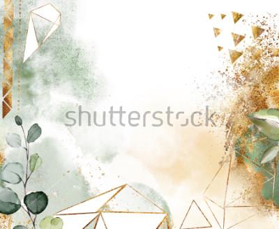 Fototapeta złota i Zielona karta, akwarela projekt zaproszenia z geometrycznych kształtów. Rama