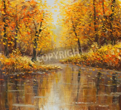 Fototapeta Złota jesień w rzece. Żółty obraz olejny. Sztuka.
