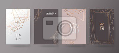 Fototapeta Złota, różowa broszura, ulotka, zaproszenie, karty