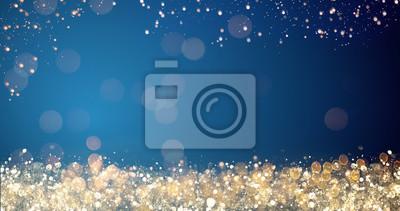 Fototapeta złote i srebrne światła xmas na niebieskim tle na wesołych świąt lub życzenia świąteczne wiadomość, jasne dekoracji. Elegancki sezon świąteczny społecznej post karty cyfrowej. Typ miejsca na tekst lub