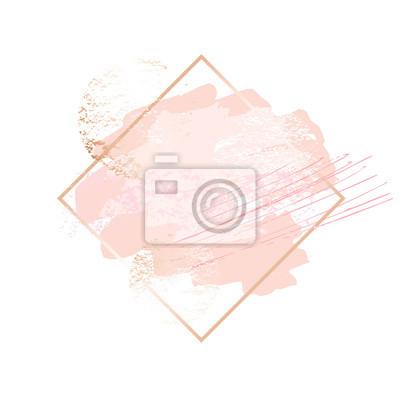 Fototapeta Złote różowe ramki artystyczne. Nowoczesny projekt karty, pociągnięcie pędzla, linie, punkty, złoto, broszura premium, ulotka, szablon zaproszenia. Elegancki styl piękna tożsamości. Ręcznie rysowane w