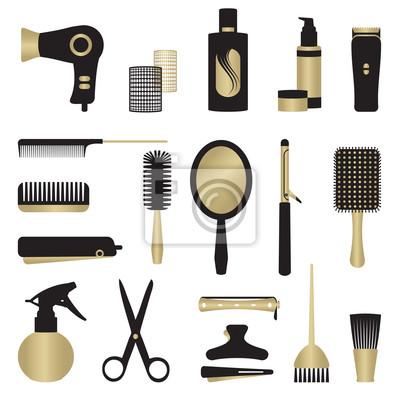Złoto i czarny zestaw obiektów związanych fryzjerskich