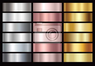 Fototapeta Złoto róża, srebro i złoty folia gradacja tekstura tło zestaw. Wektor błyszczące i metalowe kolekcja gradientu na granicy, ramki, wstążki, projekt etykiety.