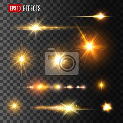 Fototapeta Złoty błysk światła lub gwiazdy świecić światłem wektorowe ikony