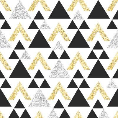 Fototapeta Złoty geometryczny trójkąt tła. Streszczenie bezszwowych wzór z trójk? Tami w z? Oto i ciemno szary.
