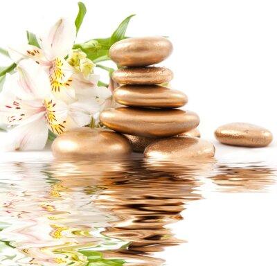 Fototapeta Złoty kamień i lily spa