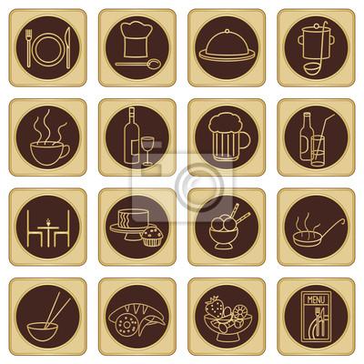 Złoty zestaw ikon brązowy restauracji