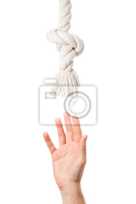 Zmęczony dłoń człowieka ciągnie do pomocy liny
