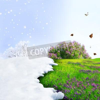 Fototapeta Zmiana sezon od zimy do wiosny