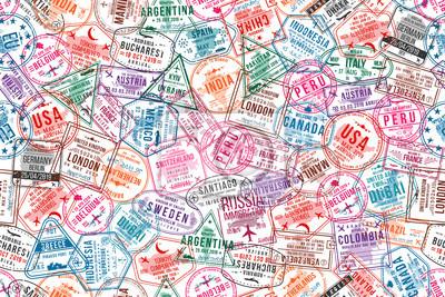 Fototapeta Znaczki wiz paszportowych, wzór. Pieczątki urzędów międzynarodowych i urzędów imigracyjnych. Podróże i turystyka koncepcja tło