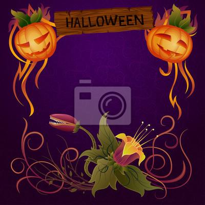 Znak Halloween z kwiatowym ornamentem