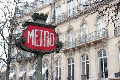 Fototapeta Znak Metro Retro w Paryżu, Francja