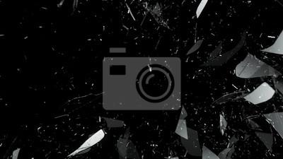 Fototapeta Zniszczone szkło na czarnym tle