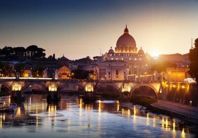 Fototapeta zobacz na Tiber i St Peter Bazylika w Watykanie