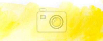 Fototapeta żółta plama akwarela narysowana ręcznie. na papierze z teksturą.