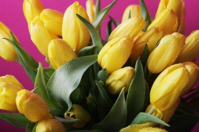 Fototapeta żółte kwiaty tulipanów w szklanym wazonie
