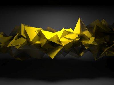 Fototapeta Żółty chaotyczne wielokątne struktury, 3d