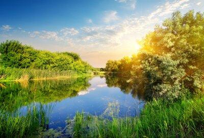 Fototapeta Żółty zachód słońca nad rzeką