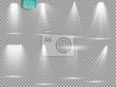 Fototapeta Źródła światła wektorowego, oświetlenie koncertowe, reflektory sceniczne. Reflektory koncertowe z wiązką, oświetlone reflektory do projektowania stron internetowych ilustracji