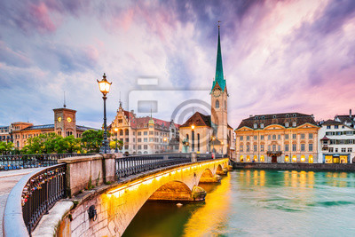 Fototapeta Zurich, Switzerland. View of the historic city center with famous Fraumunster Church