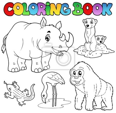 Fototapeta Zwierzeta Kolorowanka Zoo Set 1 Na Wymiar Sztuka