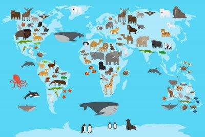Fototapeta Zwierzęta mapa świata