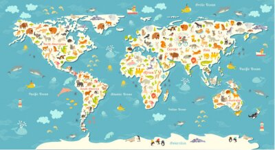 Fototapeta Zwierzęta mapa świata. Piękny pogodny ilustracji wektorowych kolorowe dla dzieci i dzieci. Z napisem oceanów i kontynentów. Przedszkolak, dziecko, kontynenty, oceany, ciągnione, Ziemia
