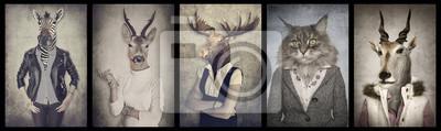 Fototapeta Zwierzęta w ubrania. Praca grafika w stylu vintage. Zebra, dee