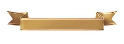 Fototapeta Zwinięty złoty banner wstążką ze złotym obramowaniem - prostych i falistych końce