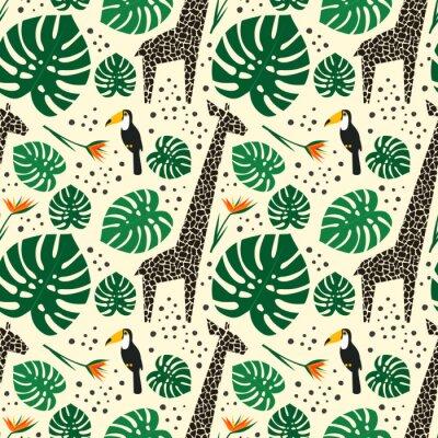 Fototapeta Żyrafy, tukany i liści palmowych wzorek bez szwu na białym tle. Dżungle z tropikalnych roślin wydrukować. Projekt safari mody dla tkanin, tapety, tkaniny.