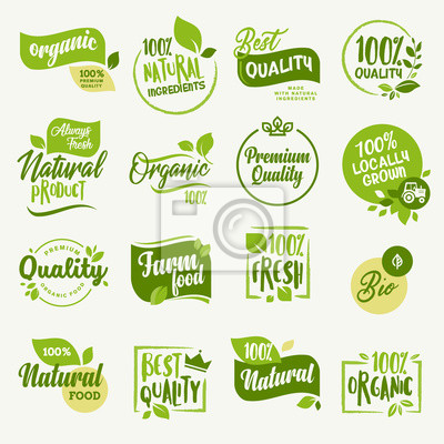 Fototapeta Żywność ekologiczna, znaki i elementy świeżego i naturalnego oznakowania produktów rolnych na rynku żywności, e-commerce, promocja produktów ekologicznych, zdrowe życie i wysokiej jakości potrawy i na