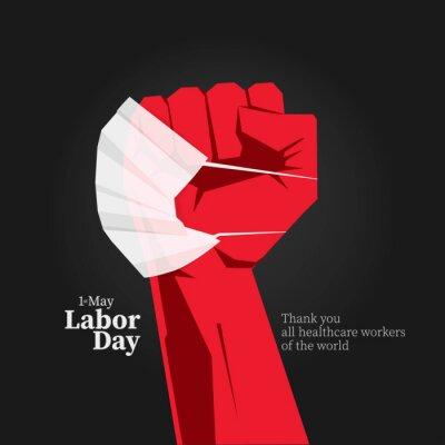 Naklejka 1 st. May Labor day message.