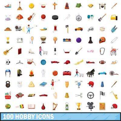 Naklejka 100 hobby zestaw ikon, styl kreskówki